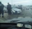 На мосту Победы «Приора» столкнулась со снегоуборочной техникой