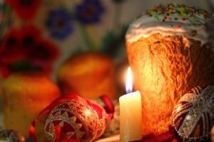пасха, свеча, кулич