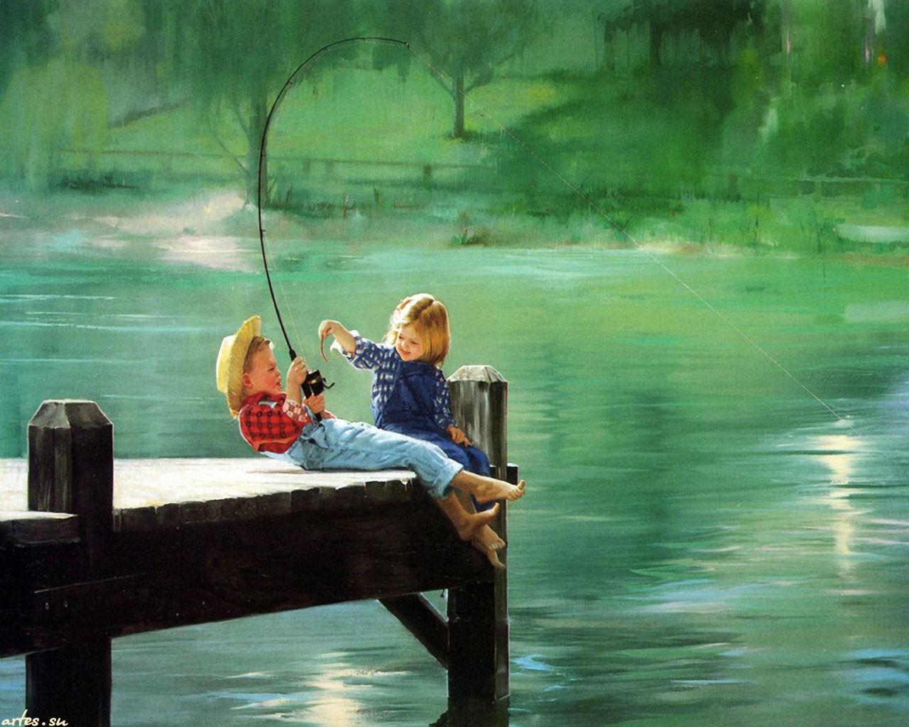картинка мальчик с девочкой ловят рыбу